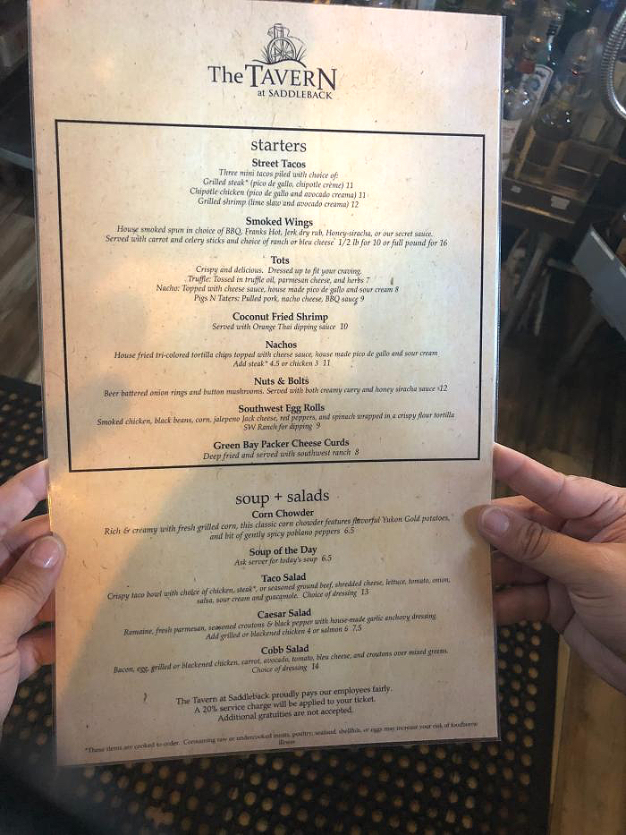 Tavern Menu Sept 2018